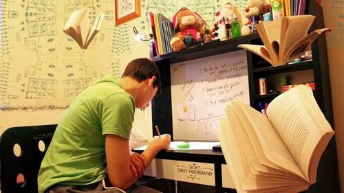 Школьник за уроками